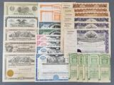 Group of vintage stock certificates
