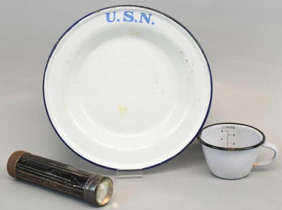 WW1 US Navy Enamelware Cup and Plate