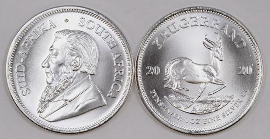 Group of (2) 2020 South Africa Silver Krugerrand 1oz. Rounds