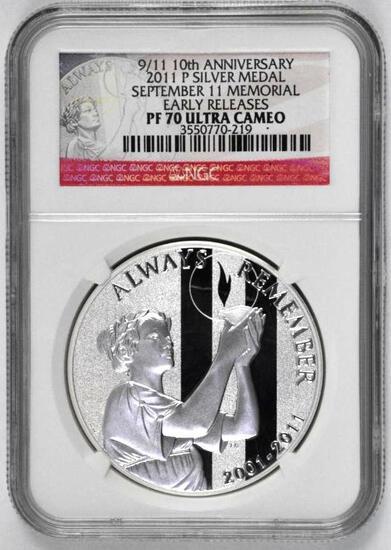 2011 P 9/11 10th Anniversary Commemorative Silver Medal 9/11 Memorial (NGC) PF70 Ultra Cameo