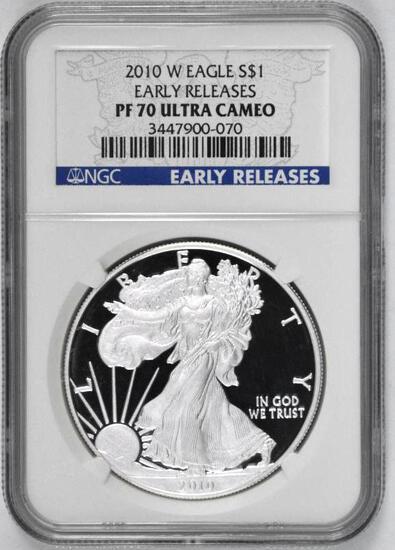 2010 W American Silver Eagle Proof 1oz (NGC) PF70 Ultra Cameo