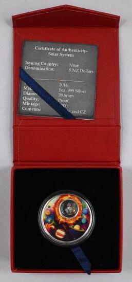 2016 NIUE $5 1oz. .999 Fine Silver Solar System Round