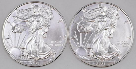 Group of (2) 2021 American Silver Eagle 1oz