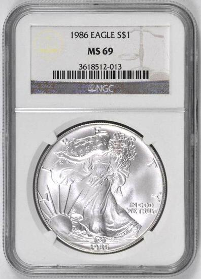 1986 American Silver Eagle 1oz. (NGC) MS69