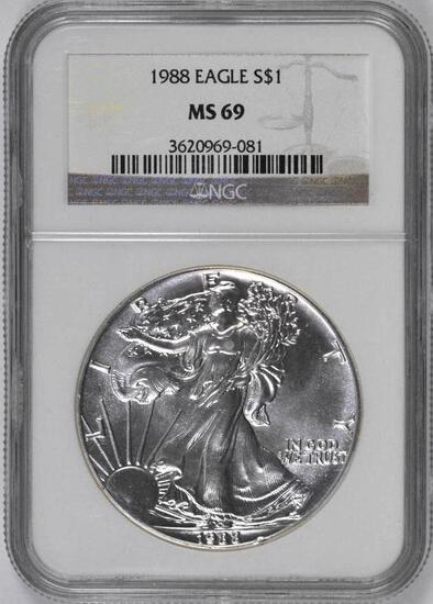 1988 American Silver Eagle 1oz. (NGC) MS69