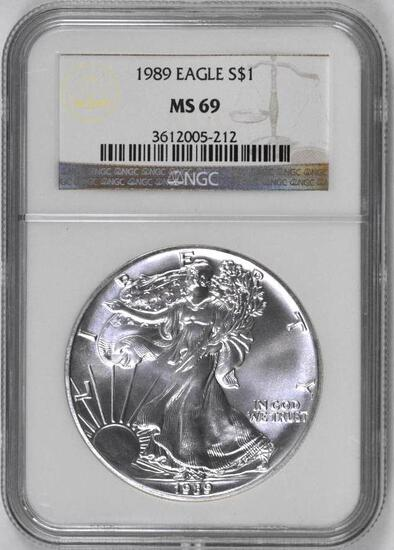 1989 American Silver Eagle 1oz. (NGC) MS69