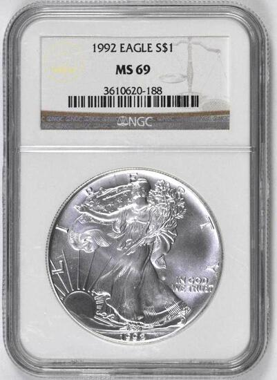 1992 American Silver Eagle 1oz. (NGC) MS69