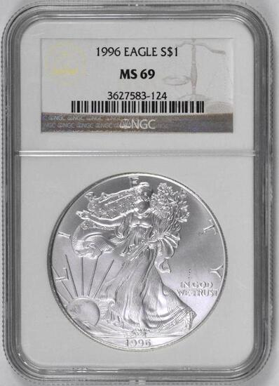 1996 American Silver Eagle 1oz. (NGC) MS69