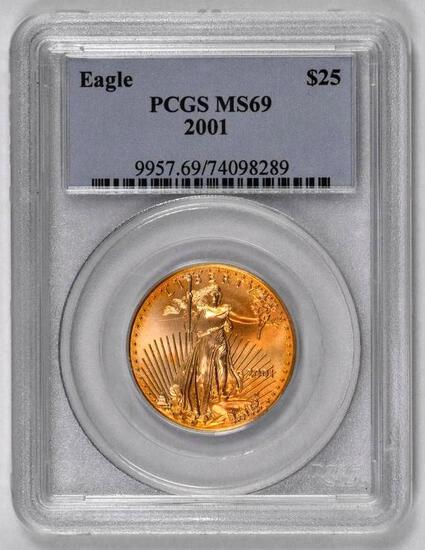 2001 $25 American Gold Eagle 1/2oz. (PCGS) MS69