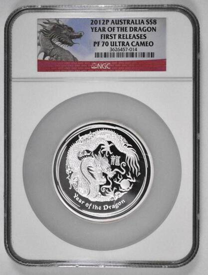 2012 P Australia Silver 5oz. Yr of the Dragon Proof $8 - (NGC) PF70 Ultra Cameo First Releases