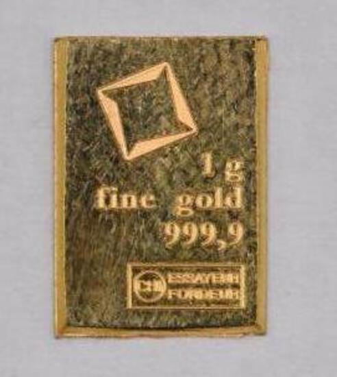 Essayeur Fondeur 1 Gram .999 Fine Gold Ingot / Bar
