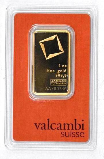 Valcambi Suisse 1oz. .9999 Fine Gold Ingot/Bar