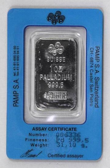 PAMP Suisse 1oz. .9995 Fine Palladium Ingot/Bar