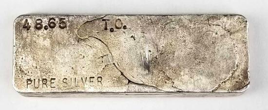 Vintage 48.65 troy oz .999 fine silver bar