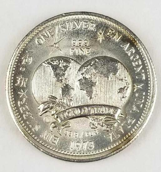 1973 The International Universal Trade Unit .999 Fine Silver Round 1 Oz
