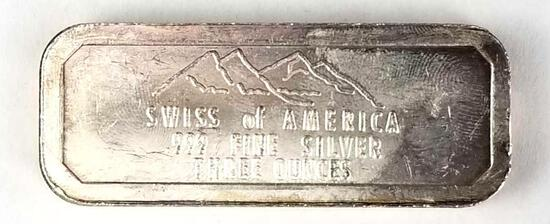 Swiss Of America - Odd Size Silver Bar 3 Oz. Draper Mint .999 Fine
