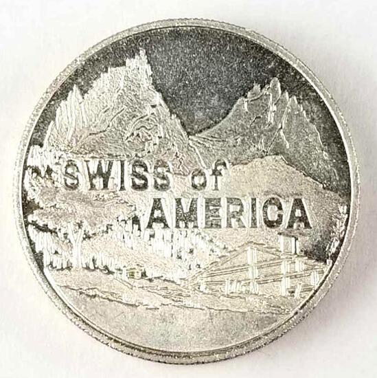 Swiss Of America - Odd Size Silver Round 2.5 Oz. 1974 Draper Mint .999 Fine