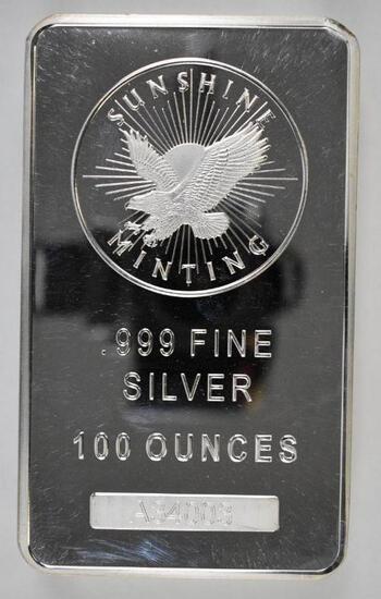 Sunshine Minting 100oz. .999 Fine Silver Ingot / Bar