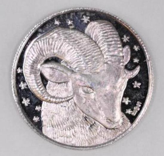 1/2oz. .999 Fine Silver Aries Round