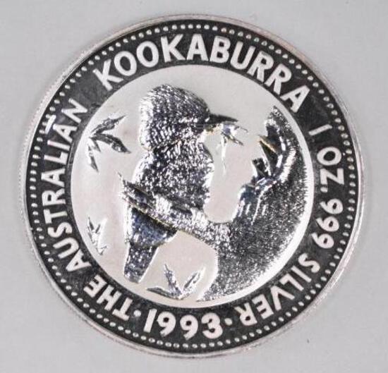 1993 Kookaburra 1oz. .999 Fine Silver Round