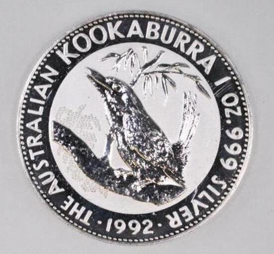 1992 Australia Kookaburra 1oz. .999 Fine Silver