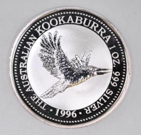 1996 Australia Kookaburra 1oz. .999 Fine Silver Round