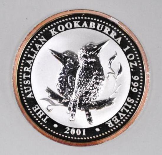 2001 Australia Kookaburra 1oz. .999 Fine Silver Round