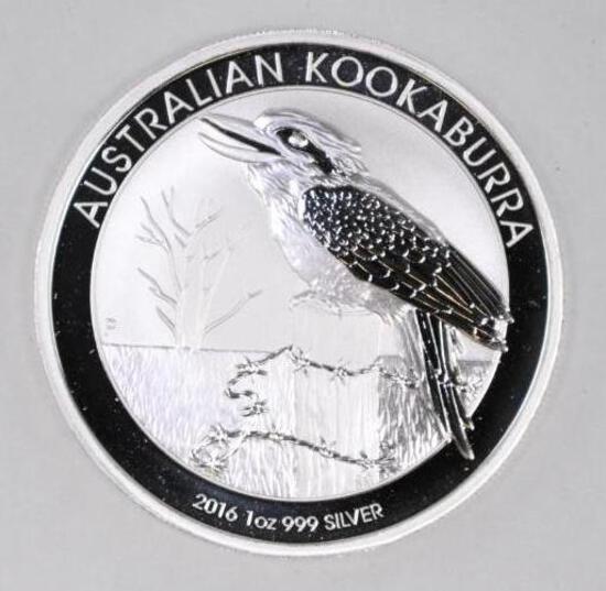 2016 Australia Kookaburra 1oz. .999 Fine Silver Round