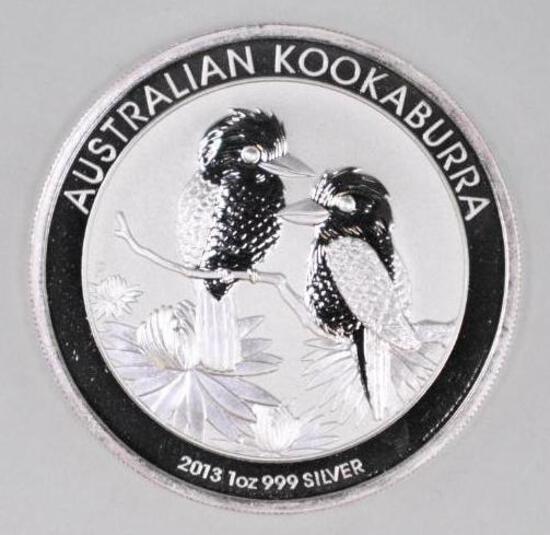 2013 Australia Kookaburra 1oz. .999 Fine Silver Round