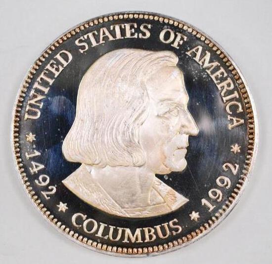 1992 Columbus 500 Grams (16oz.) .999 Fine Silver Fantasy Round