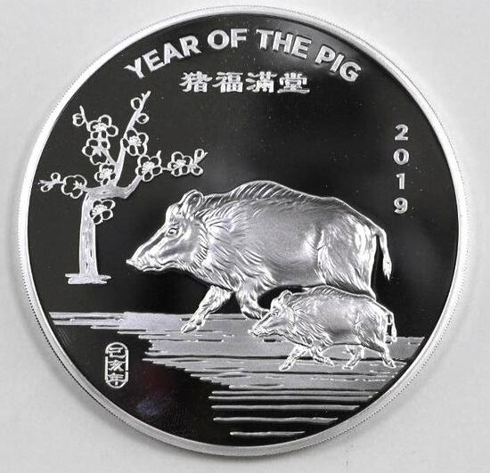 2019 Year of the Pig 10oz. .999 Fine Silver Art Round