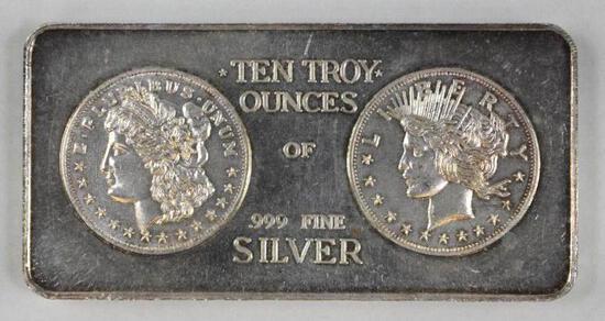 Standard Mint 10oz. .999 Fine Silver Ingot/Bar