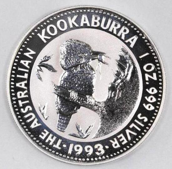 1993 Australia Kookaburra 1oz. .999 Fine Silver