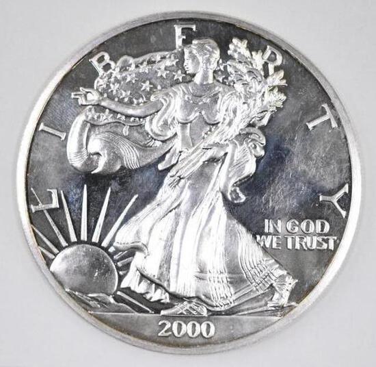 2000 Liberty 6oz. .999 Fine Silver Round