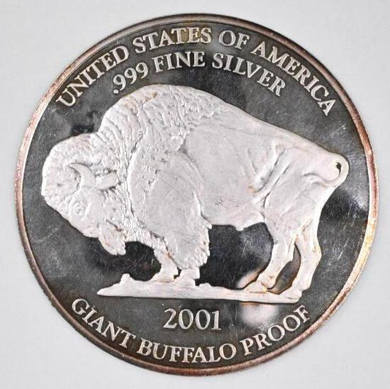 2001 Giant Buffalo Proof 1oz. .999 Fine Silver Round