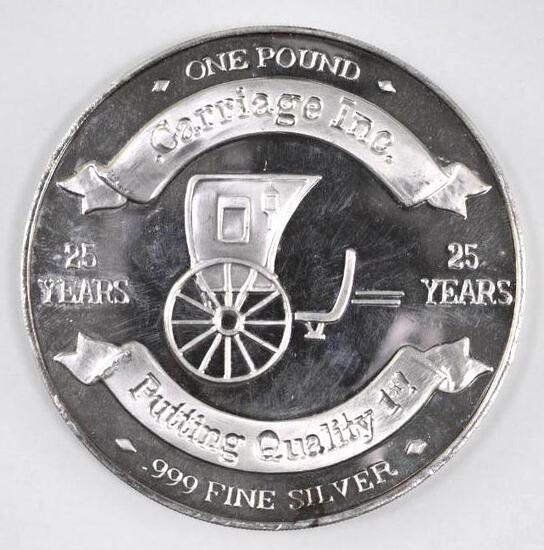 Carriage Inc. 25th Anniversary 14.5oz. .999 Fine Silver Round