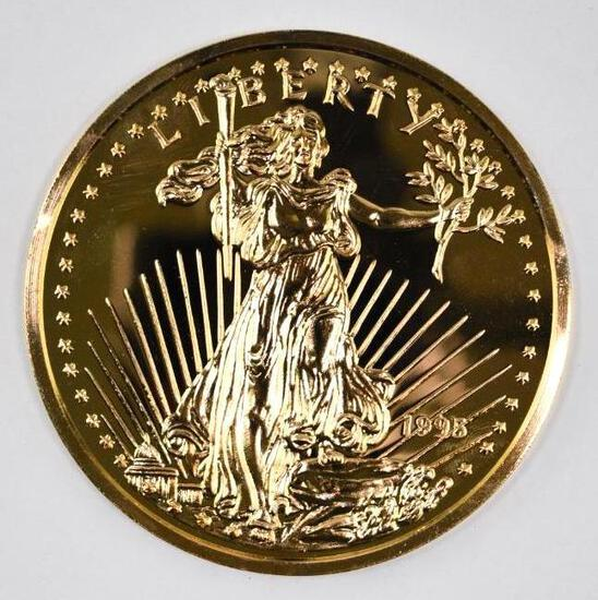1995 Washington Mint 8oz. .999 Fine Silver Gold Plated Gaudens Round
