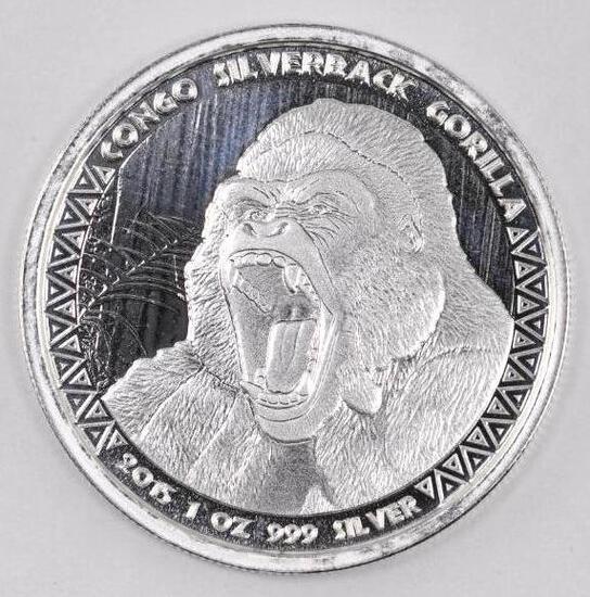2015 Republic of Congo 5000 Francs Silverback Gorilla 1oz. .999 Fine Silver