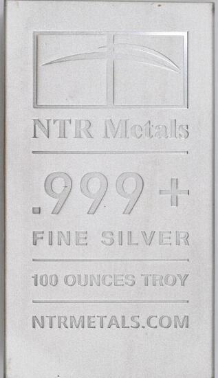 NTR Metals 100oz. .999 Fine Silver Ingot/Bar