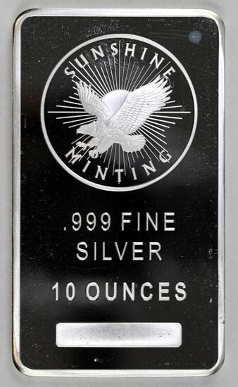 Sunshine Minting 10oz. .999 Fine Silver Ingot/Bar