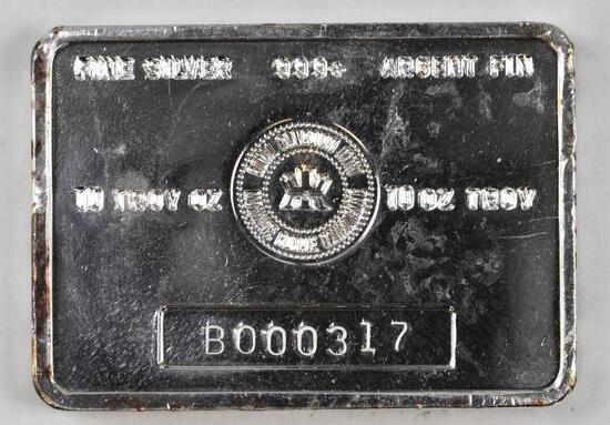 Royal Canadian Mint 10oz. .999 Fine Silver Ingot/Bar