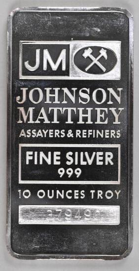 Johnson Matthey 10oz. .999 Fine Silver Ingot/Bar