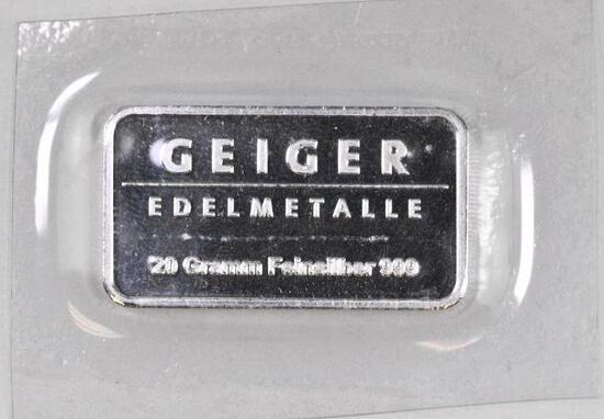 Geiger Edelmetalle 20 Grams - (.643 Troy oz) .999 Fine Silver Ingot/Bar