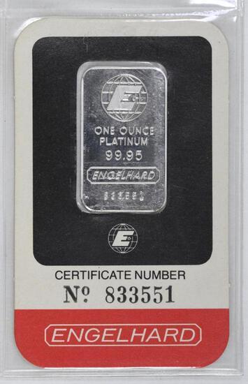 Engelhard 1oz. .9995 Fine Platinum Ingot/Bar