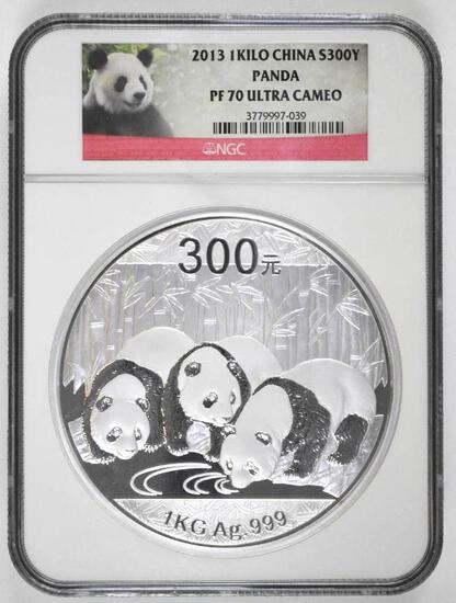2013 China 300 Yuan Panda 1 Kilo (32.15oz.) .999 Fine Silver (NGC) PF70 Ultra Cameo