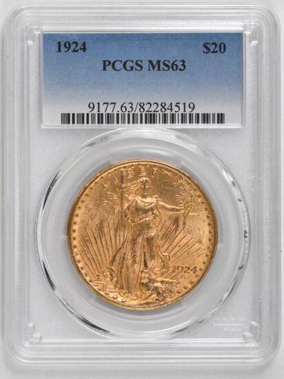 1924 P $20 Saint Gaudens Gold (PCGS) MS63