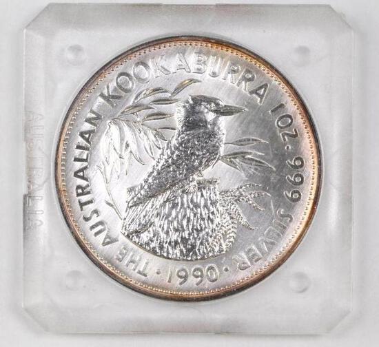 1990 $5 Australia Kookaburra 1oz. .999 Fine Silver