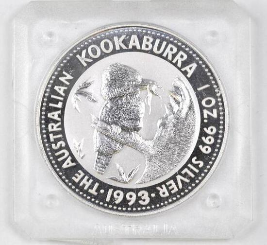 1993 $1 Australia Kookaburra 1oz. .999 Fine Silver