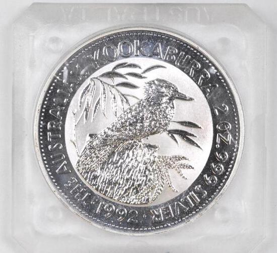 1992 $2 Australia Kookaburra 2oz. .999 Fine Silver