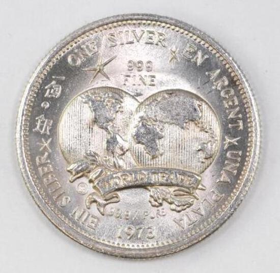1973 World Trade 1oz. .999 Fine Silver